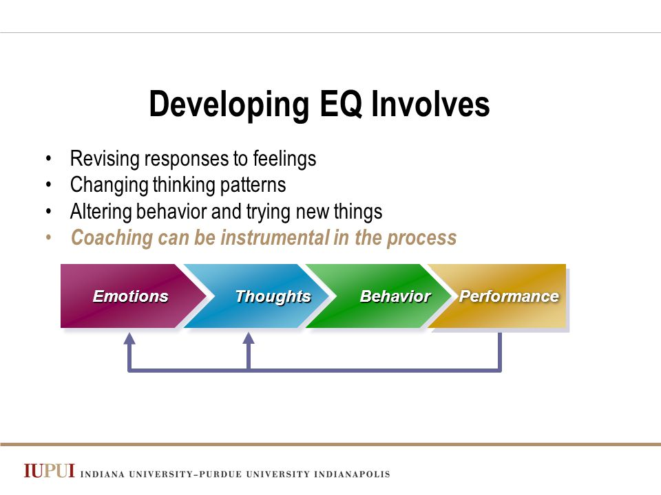 Emotions Thoughts Behavior Performance Developing EQ Involves Revising responses to feelings Changing thinking patterns Altering behavior and trying new things Coaching can be instrumental in the process