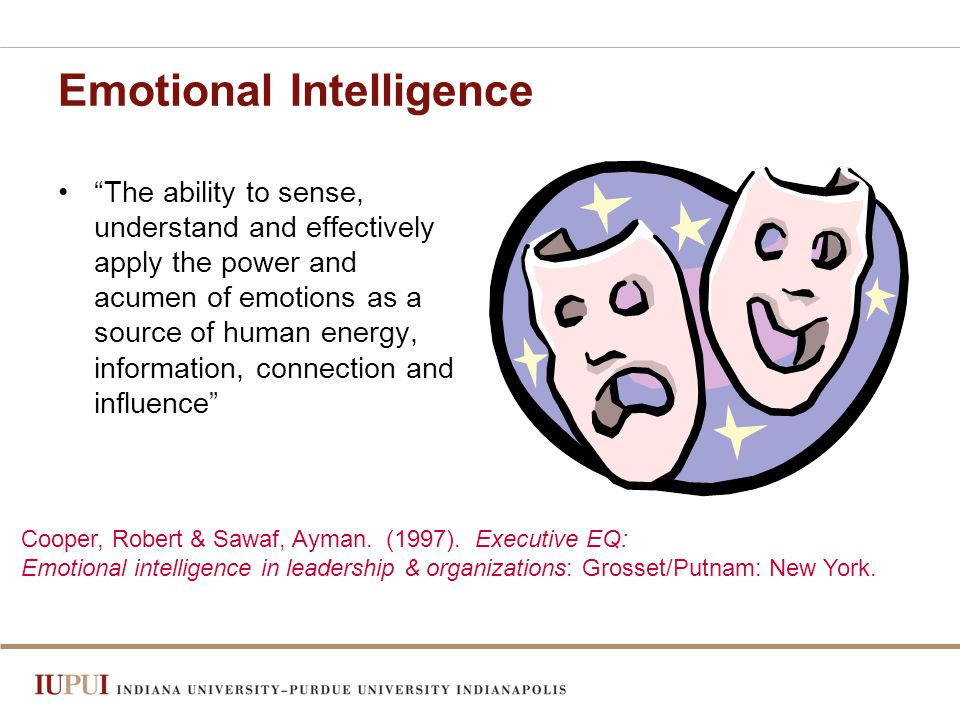 Emotional Intelligence The ability to sense, understand and effectively apply the power and acumen of emotions as a source of human energy, information, connection and influence Cooper, Robert & Sawaf, Ayman.
