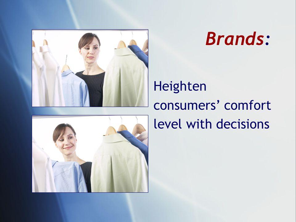 Brands: Heighten consumers' comfort level with decisions Heighten consumers' comfort level with decisions