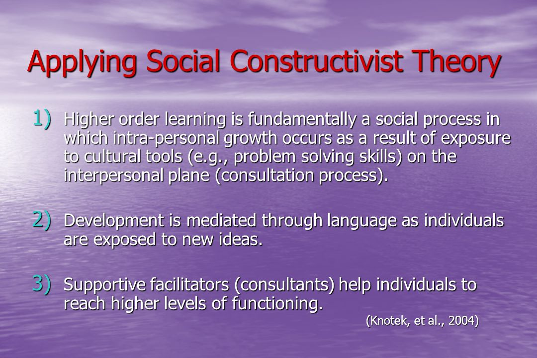 Applying Social Constructivist Theory Applying Social Constructivist Theory 1) Higher order learning is fundamentally a social process in which intra-