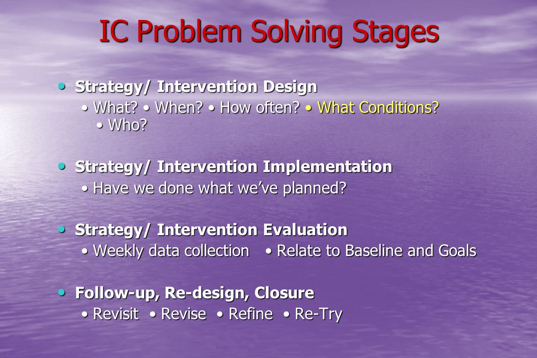 IC Problem Solving Stages Strategy/ Intervention Design Strategy/ Intervention Design What? When? How often? What Conditions? Who? What? When? How oft
