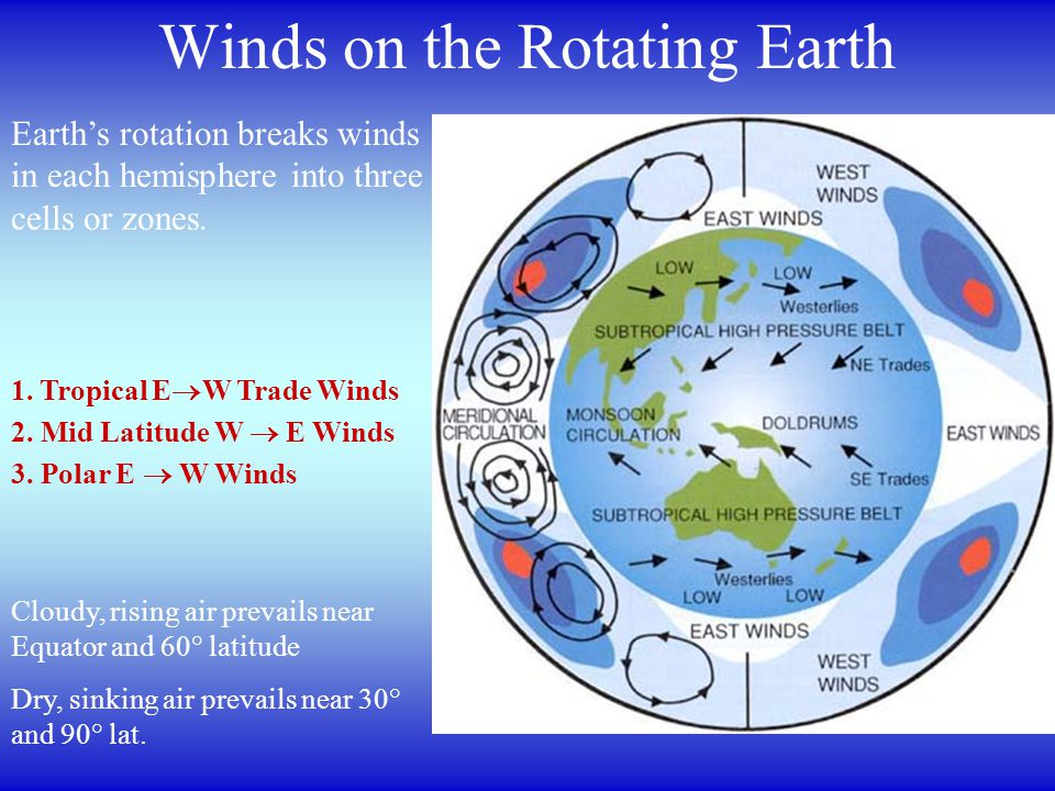 Winds on the Rotating Earth Earth's rotation breaks winds in each hemisphere into three cells or zones.
