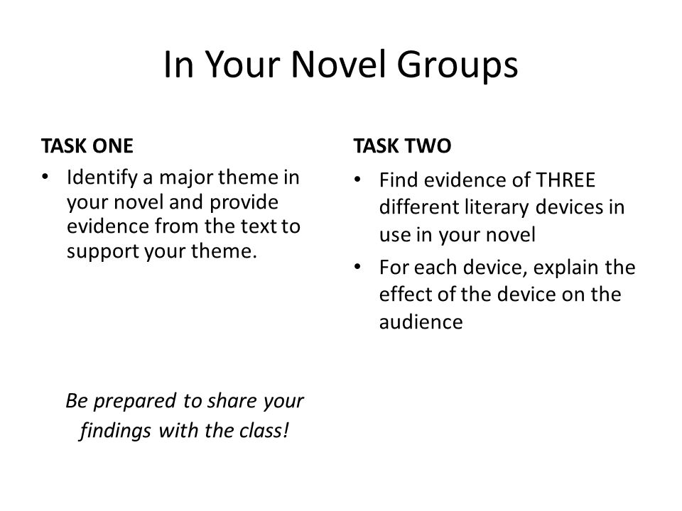 In Your Novel Groups TASK ONE Identify a major theme in your novel and provide evidence from the text to support your theme.