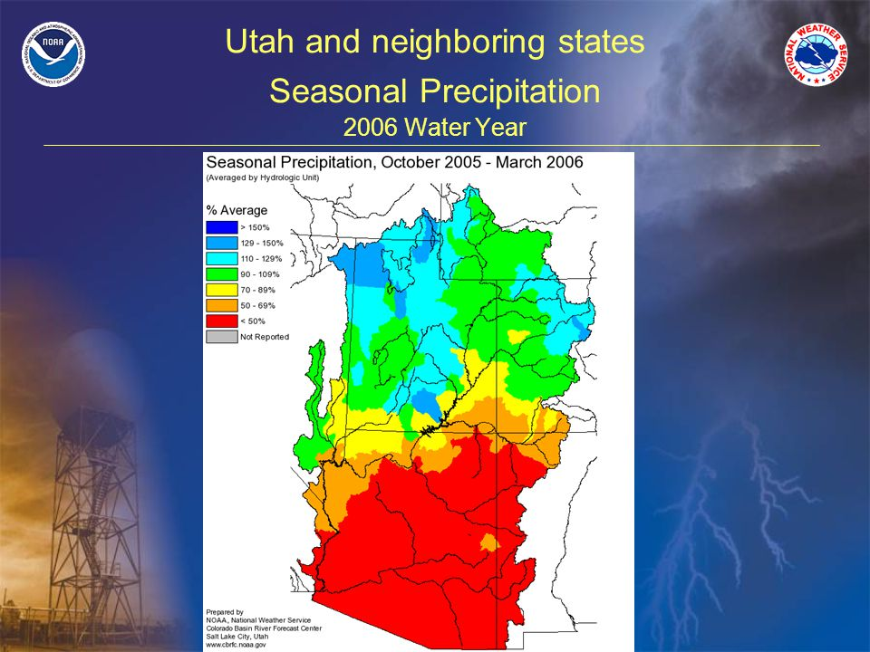 Utah and neighboring states Seasonal Precipitation 2006 Water Year