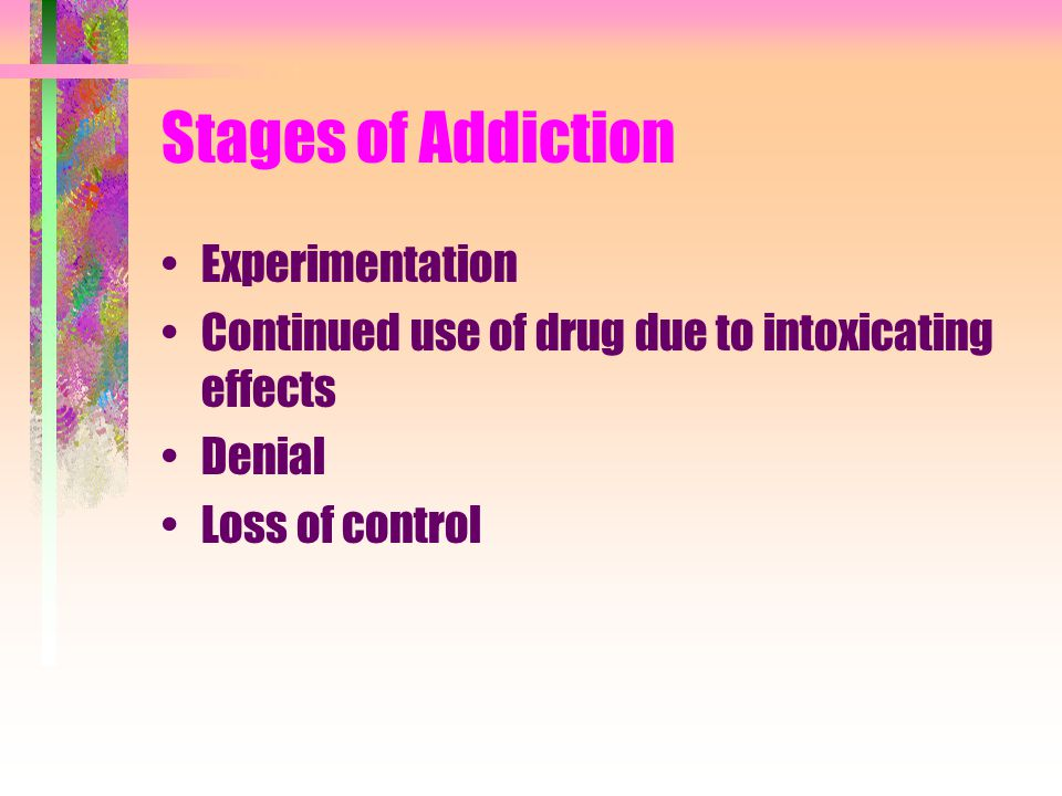 Stages of Addiction Experimentation Continued use of drug due to intoxicating effects Denial Loss of control