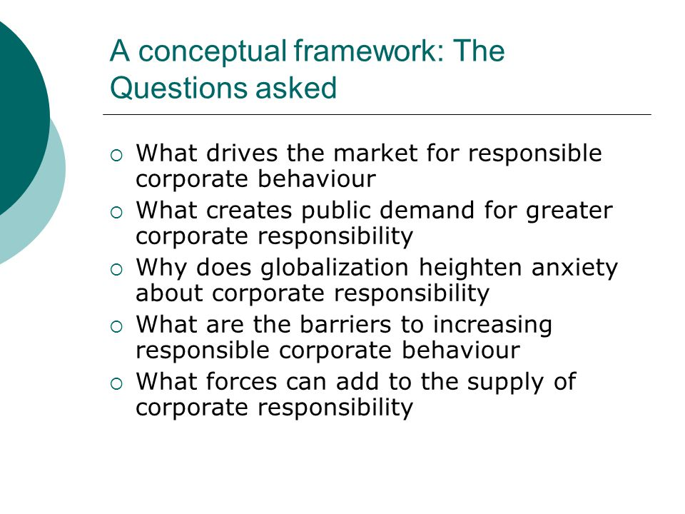 Corporate Responsibility  Instrumental: explicitly serve the purpose of enhancing shareholder value  Intrinsic: a course of action is undertaken simply because it's the right thing to do , whether or not it serves shareholder interests
