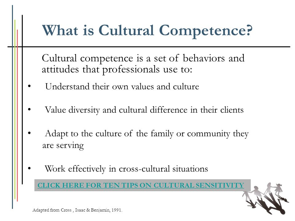 What is Cultural Competence? Cultural competence is a set of behaviors and attitudes that professionals use to: Adapted from Cross, Isaac & Benjamin,