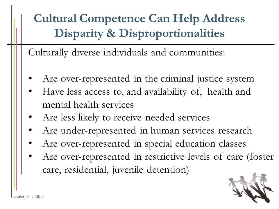 Cultural Competence Can Help Address Disparity & Disproportionalities Culturally diverse individuals and communities: Are over-represented in the crim