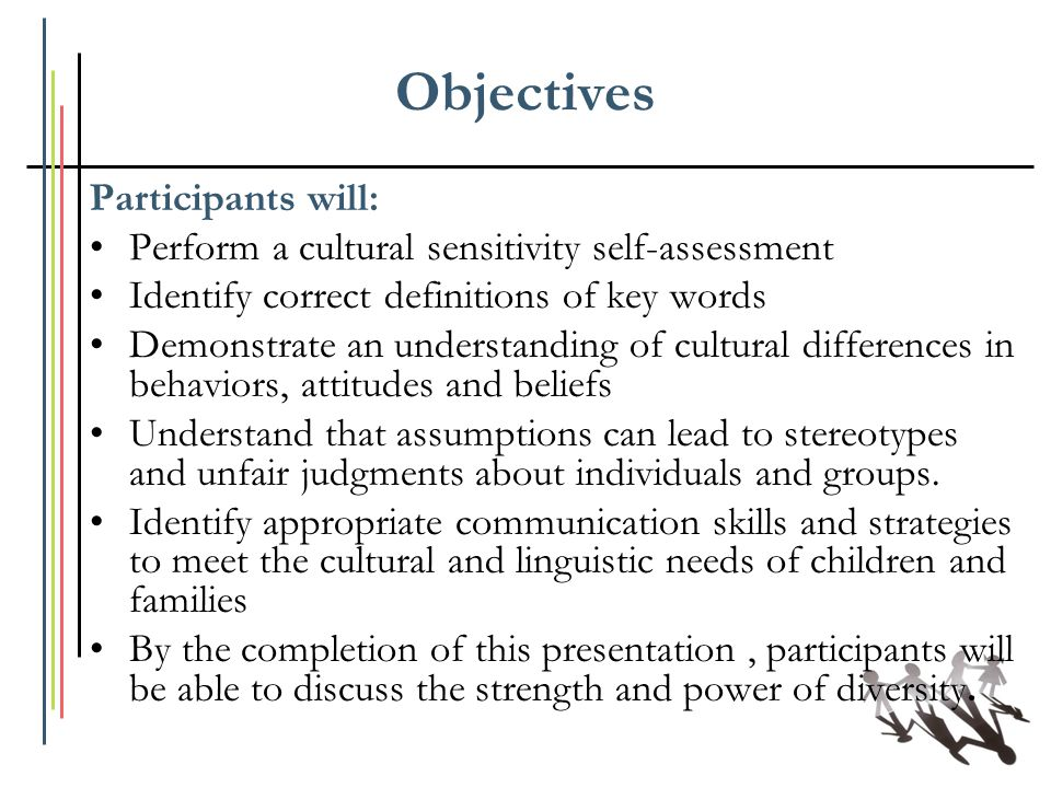 Objectives Participants will: Perform a cultural sensitivity self-assessment Identify correct definitions of key words Demonstrate an understanding of