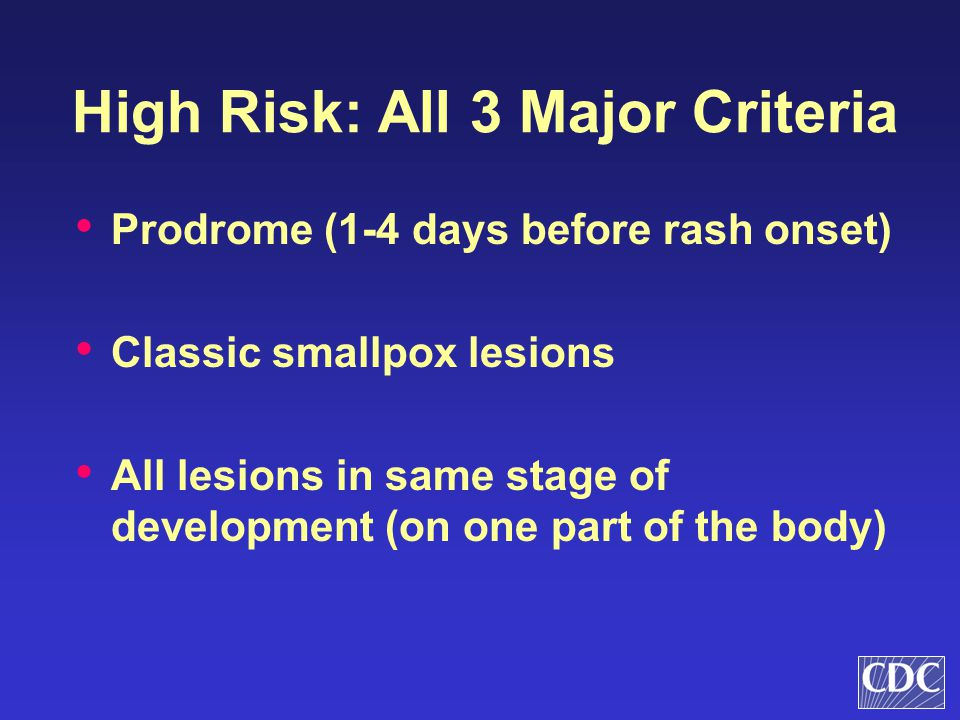 High Risk: All 3 Major Criteria Prodrome (1-4 days before rash onset) Classic smallpox lesions All lesions in same stage of development (on one part o