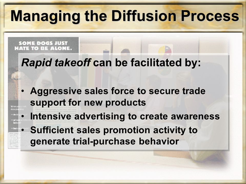 Managing the Diffusion Process Rapid takeoff can be facilitated by: Aggressive sales force to secure trade support for new products Intensive advertising to create awareness Sufficient sales promotion activity to generate trial-purchase behavior