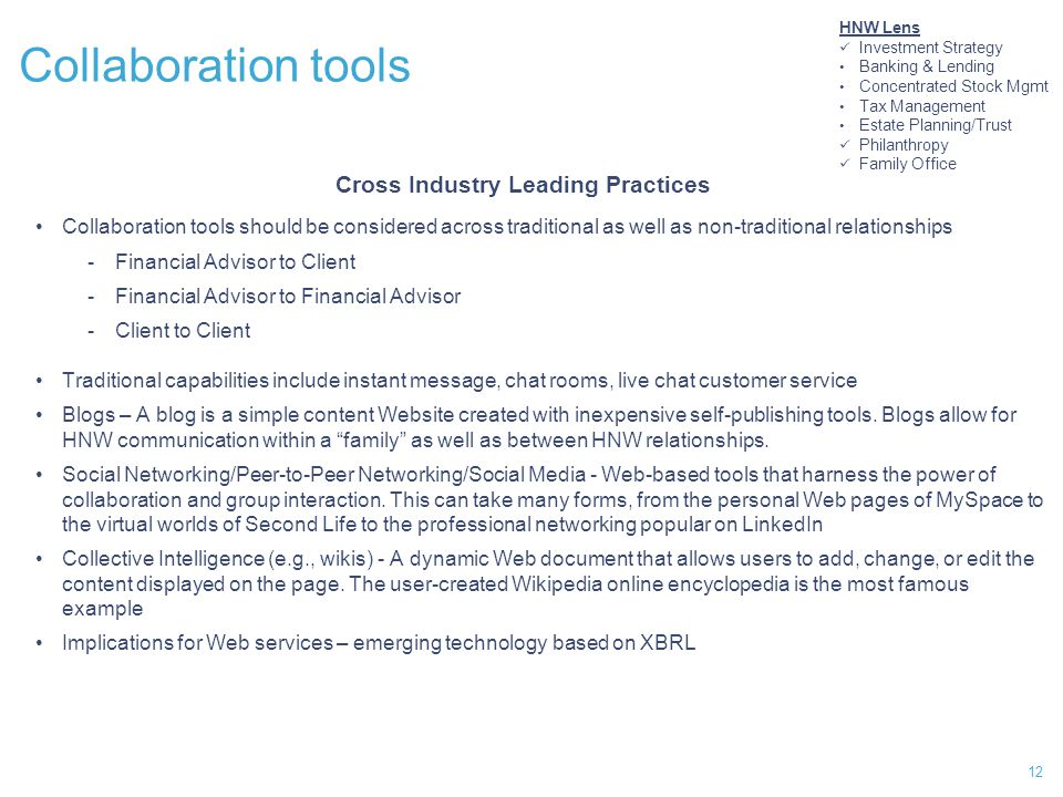 12 Collaboration tools Cross Industry Leading Practices Collaboration tools should be considered across traditional as well as non-traditional relationships -Financial Advisor to Client -Financial Advisor to Financial Advisor -Client to Client Traditional capabilities include instant message, chat rooms, live chat customer service Blogs – A blog is a simple content Website created with inexpensive self-publishing tools.