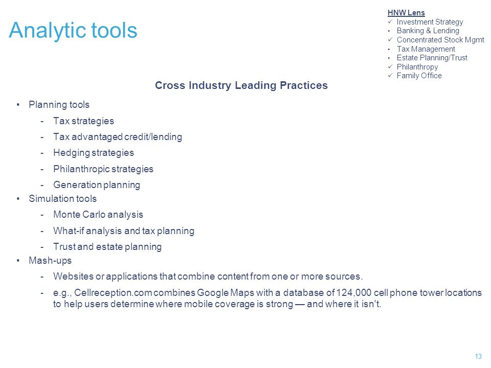 13 Analytic tools Cross Industry Leading Practices Planning tools -Tax strategies -Tax advantaged credit/lending -Hedging strategies -Philanthropic strategies -Generation planning Simulation tools -Monte Carlo analysis -What-if analysis and tax planning -Trust and estate planning Mash-ups -Websites or applications that combine content from one or more sources.