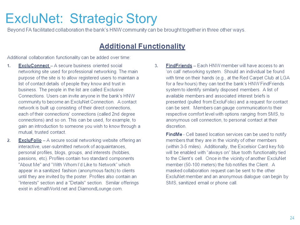 24 ExcluNet: Strategic Story Additional Functionality Additional collaboration functionality can be added over time: 1.