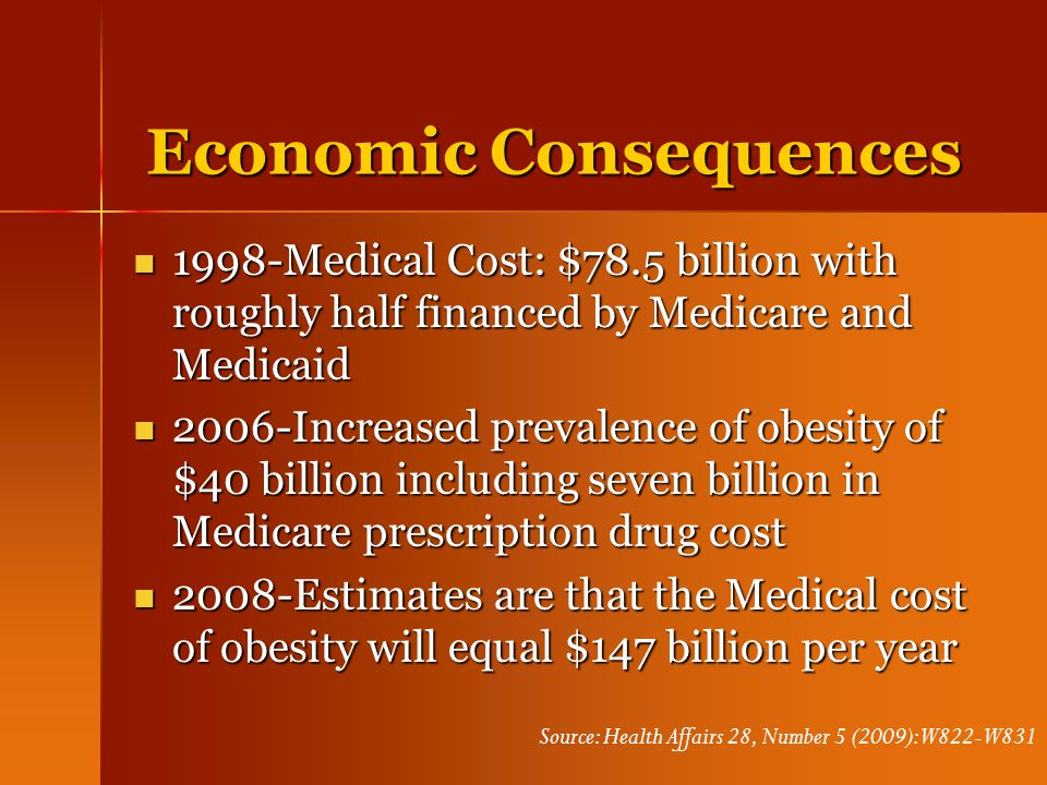Economic Consequences 1998-Medical Cost: $78.5 billion with roughly half financed by Medicare and Medicaid 1998-Medical Cost: $78.5 billion with rough