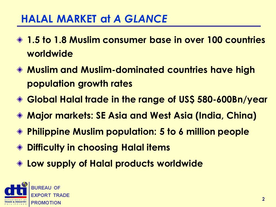 2 BUREAU OF EXPORT TRADE PROMOTION HALAL MARKET at A GLANCE 1.5 to 1.8 Muslim consumer base in over 100 countries worldwide Muslim and Muslim-dominated countries have high population growth rates Global Halal trade in the range of US$ 580-600Bn/year Major markets: SE Asia and West Asia (India, China) Philippine Muslim population: 5 to 6 million people Difficulty in choosing Halal items Low supply of Halal products worldwide