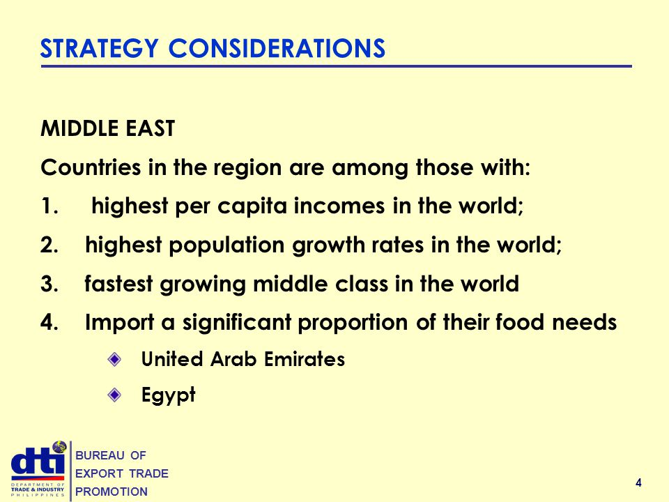 4 BUREAU OF EXPORT TRADE PROMOTION MIDDLE EAST Countries in the region are among those with: 1. highest per capita incomes in the world; 2.highest pop