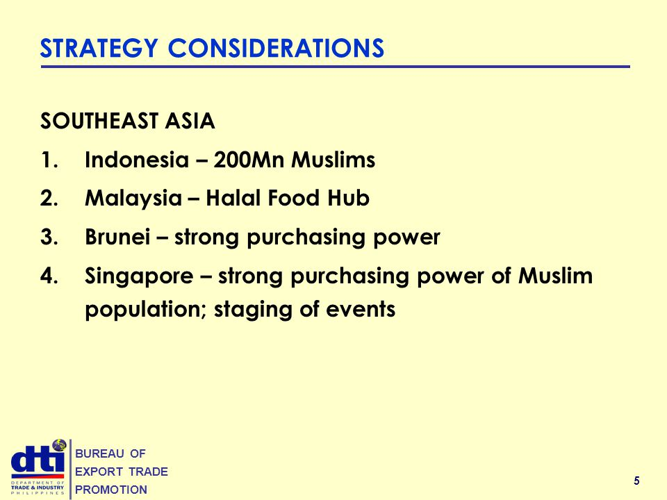 5 BUREAU OF EXPORT TRADE PROMOTION STRATEGY CONSIDERATIONS SOUTHEAST ASIA 1.Indonesia – 200Mn Muslims 2.Malaysia – Halal Food Hub 3.Brunei – strong purchasing power 4.Singapore – strong purchasing power of Muslim population; staging of events