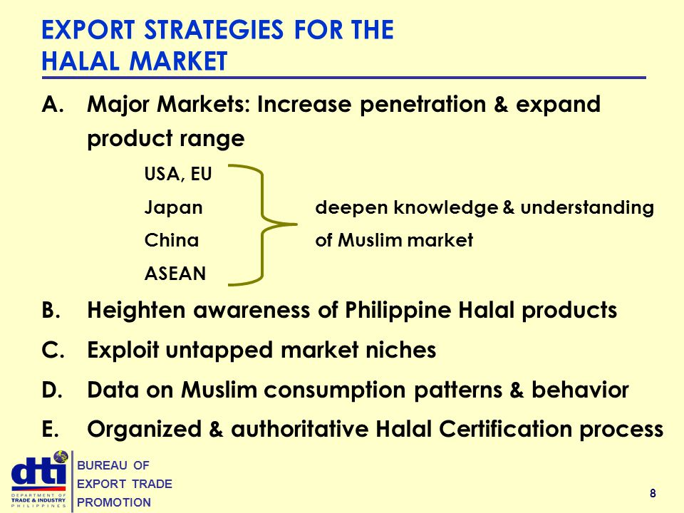 8 BUREAU OF EXPORT TRADE PROMOTION EXPORT STRATEGIES FOR THE HALAL MARKET A.Major Markets: Increase penetration & expand product range USA, EU Japandeepen knowledge & understanding Chinaof Muslim market ASEAN B.Heighten awareness of Philippine Halal products C.Exploit untapped market niches D.Data on Muslim consumption patterns & behavior E.Organized & authoritative Halal Certification process