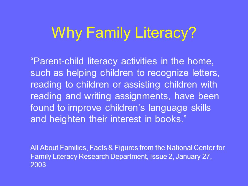 Why Family Literacy.