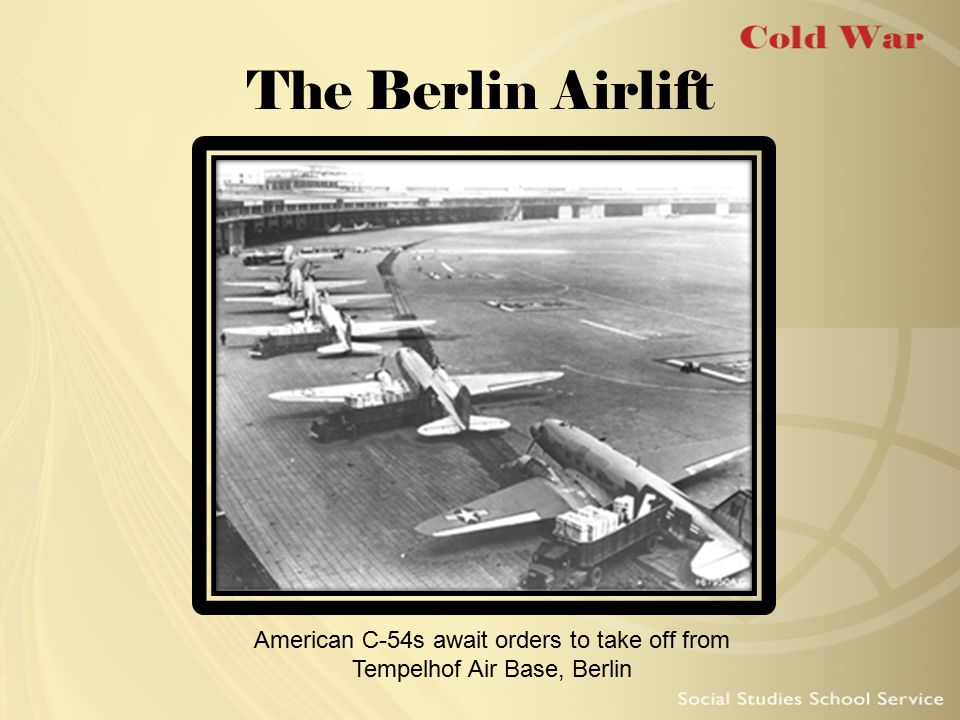 Origins of the Berlin Airlift Germany divided after WWII City of Berlin lay in Soviet zone Soviets closed all rail and highway routes into city Air corridors remained open