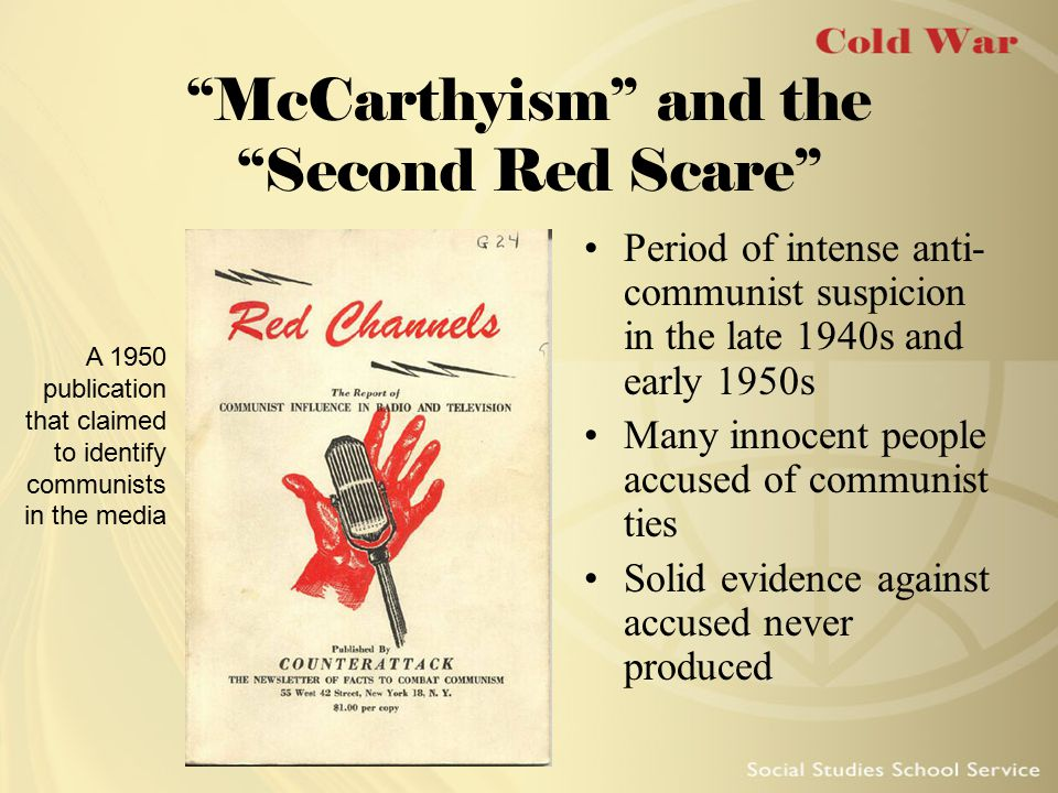 Joseph McCarthy Republican senator from Wisconsin Claimed that communists had infiltrated several government agencies Army–McCarthy hearings led to censure by Senate Died in 1957