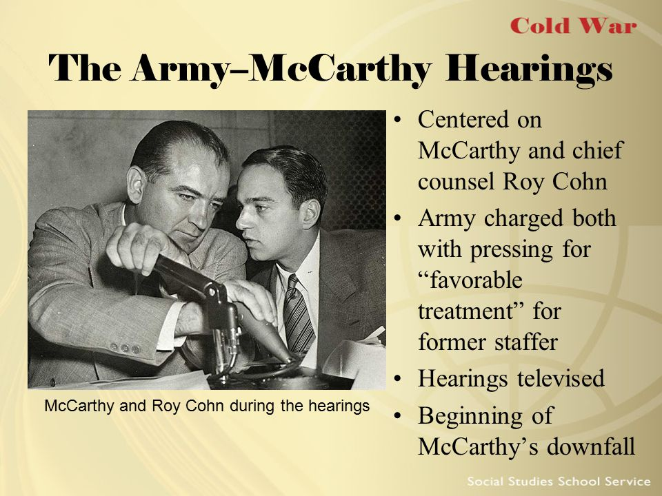 Censure of McCarthy McCarthy's popularity plummeted after hearings Senator Margaret Chase Smith spoke out against McCarthy Senate voted to censure McCarthy in December 1954 Senator Margaret Chase Smith