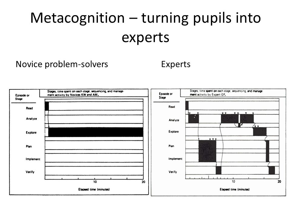 Metacognition – turning pupils into experts Novice problem-solversExperts
