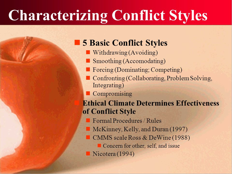 Characterizing Conflict Styles 5 Basic Conflict Styles Withdrawing (Avoiding) Smoothing (Accomodating) Forcing (Dominating; Competing) Confronting (Co