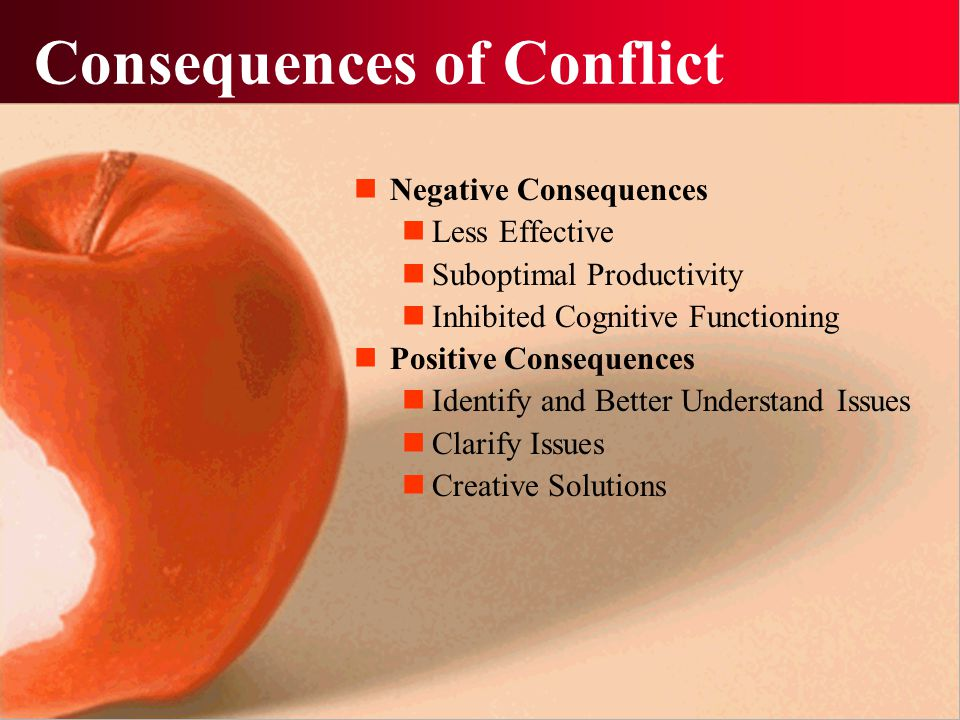 Consequences of Conflict Negative Consequences Less Effective Suboptimal Productivity Inhibited Cognitive Functioning Positive Consequences Identify a