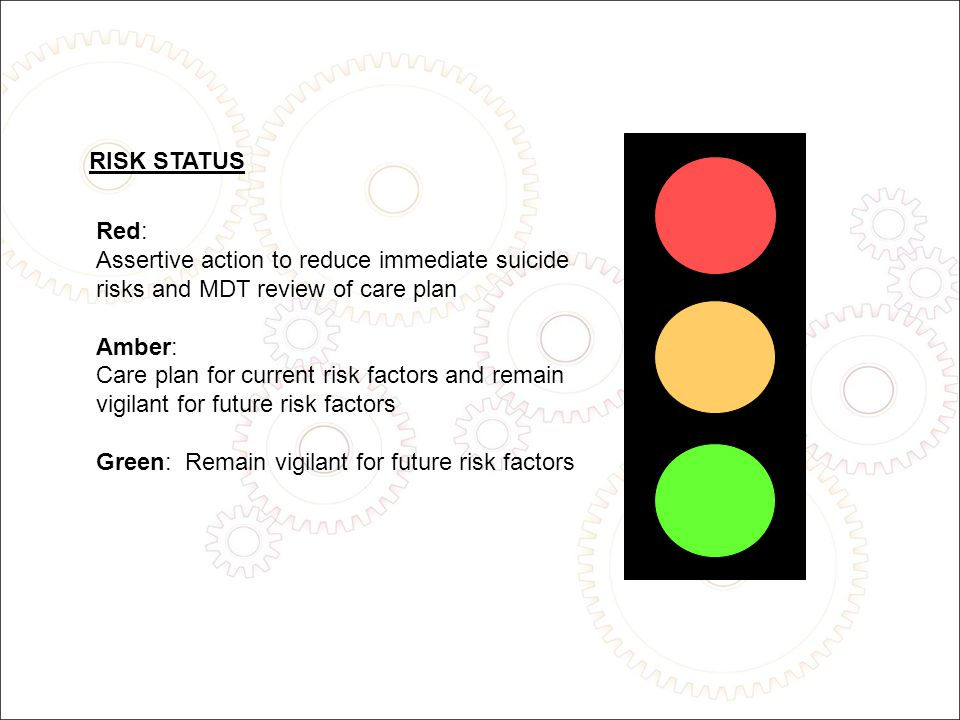 Red: Assertive action to reduce immediate suicide risks and MDT review of care plan Amber: Care plan for current risk factors and remain vigilant for future risk factors Green: Remain vigilant for future risk factors RISK STATUS