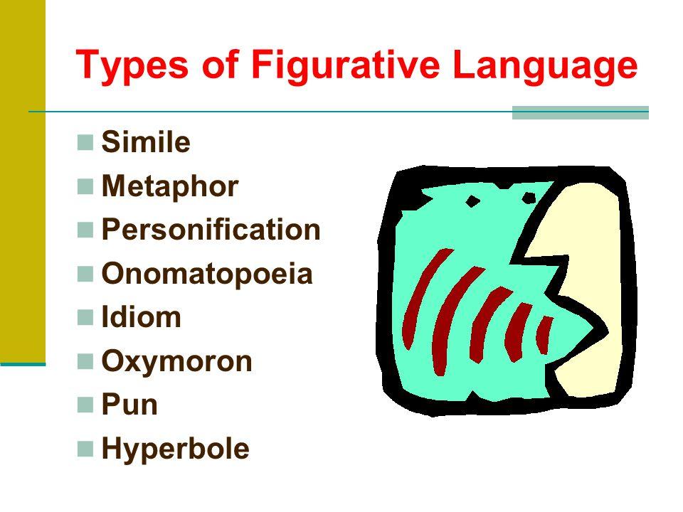 Types of Figurative Language Simile Metaphor Personification Onomatopoeia Idiom Oxymoron Pun Hyperbole
