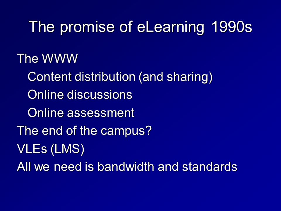 The WWW Content distribution (and sharing) Online discussions Online assessment The end of the campus.