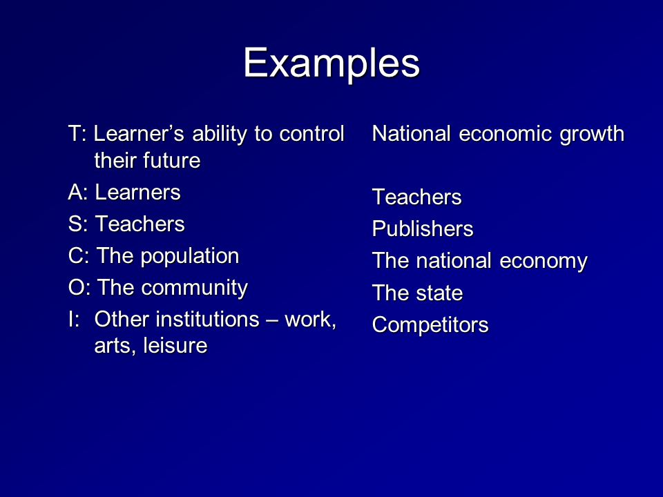 Examples T: Learner's ability to control their future A: Learners S: Teachers C: The population O: The community I: Other institutions – work, arts, leisure National economic growth TeachersPublishers The national economy The state Competitors