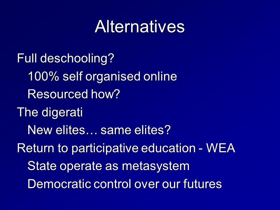 Full deschooling. 100% self organised online Resourced how.