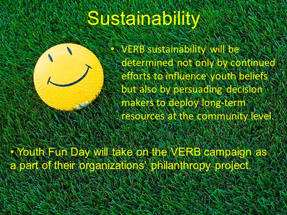 VERB sustainability will be determined not only by continued efforts to influence youth beliefs but also by persuading decision makers to deploy long-