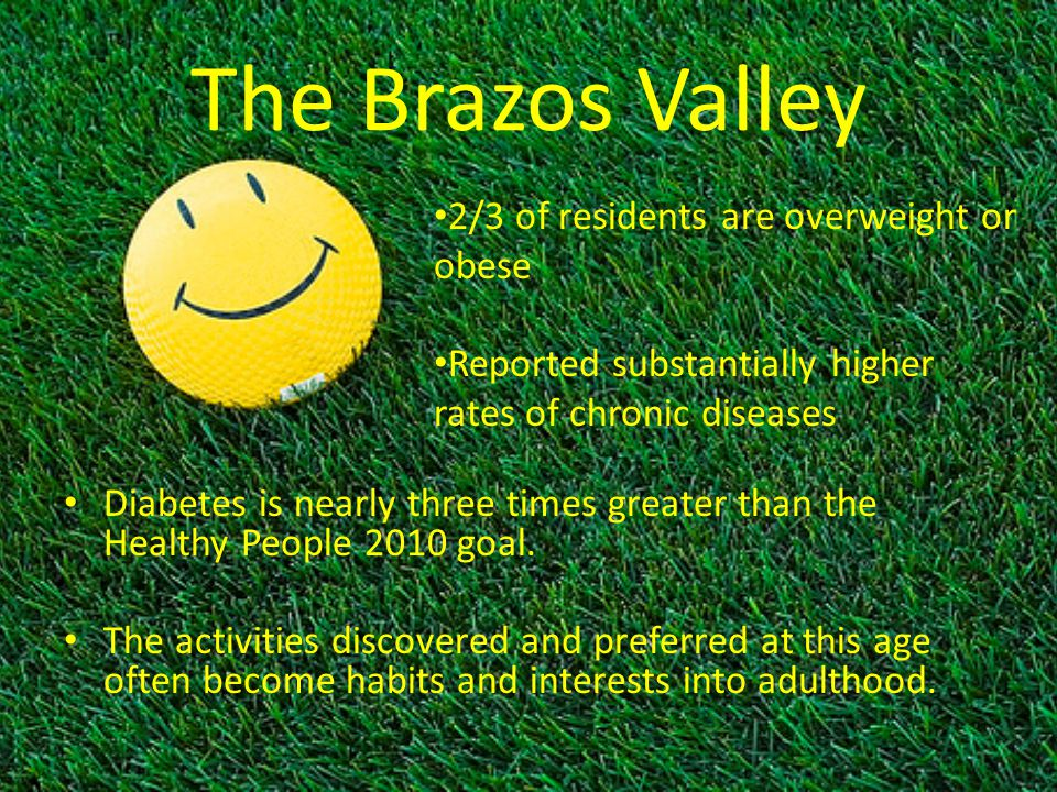 The Brazos Valley Diabetes is nearly three times greater than the Healthy People 2010 goal. The activities discovered and preferred at this age often
