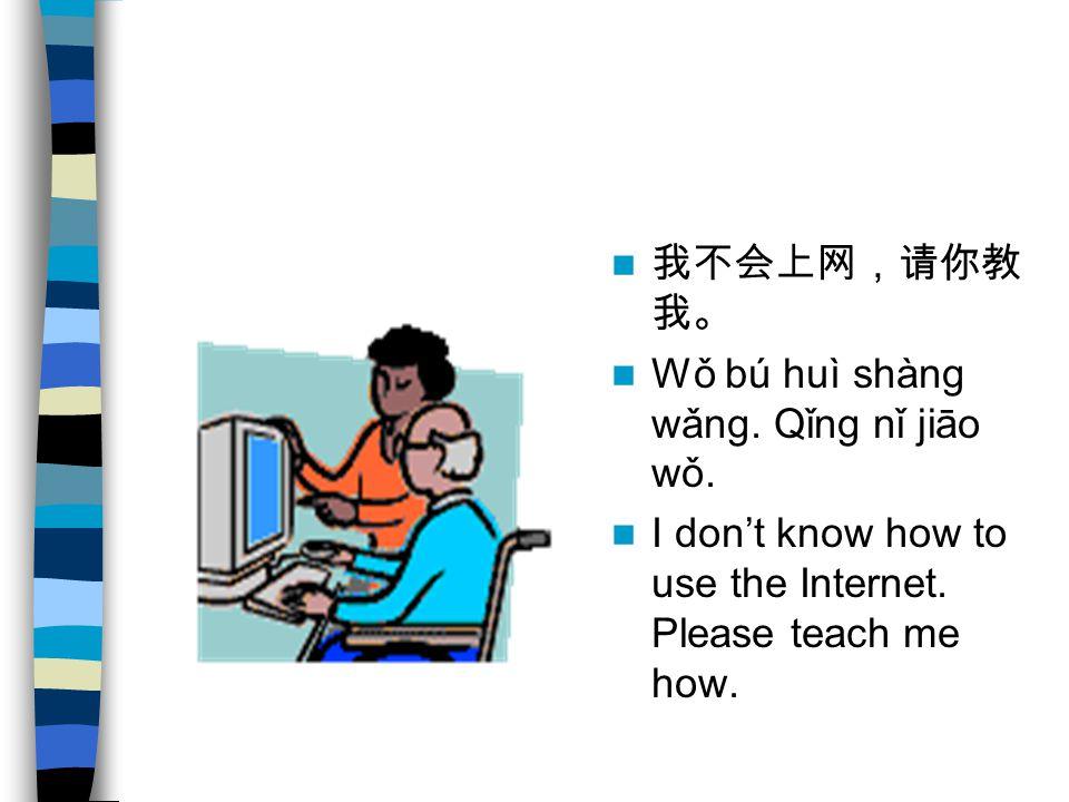 我不会上网,请你教 我。 Wǒ bú huì shàng wǎng. Qǐng nǐ jiāo wǒ.