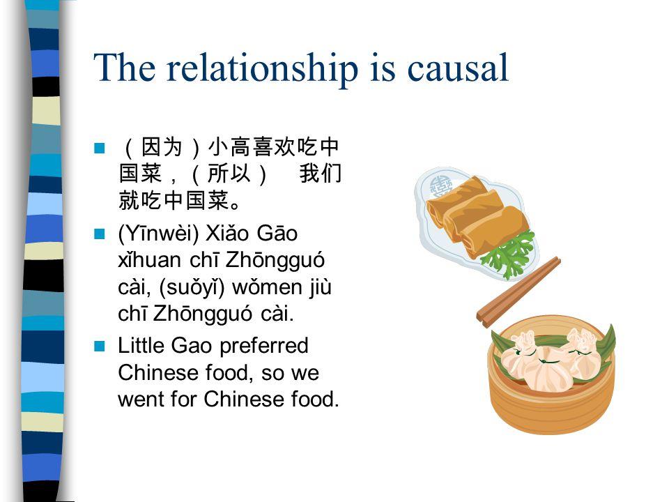 The relationship is causal (因为)小高喜欢吃中 国菜,(所以) 我们 就吃中国菜。 (Yīnwèi) Xiǎo Gāo xǐhuan chī Zhōngguó cài, (suǒyǐ) wǒmen jiù chī Zhōngguó cài.