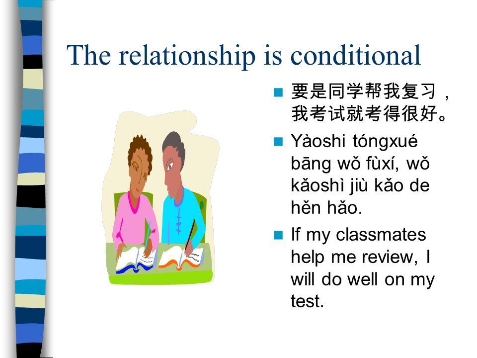 The relationship is conditional 要是同学帮我复习, 我考试就考得很好。 Yàoshi tóngxué bāng wǒ fùxí, wǒ kǎoshì jiù kǎo de hěn hǎo.