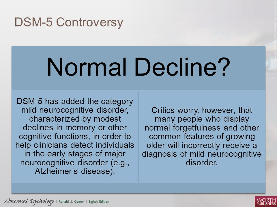 DSM-5 Controversy Normal Decline? DSM-5 has added the category mild neurocognitive disorder, characterized by modest declines in memory or other cogni