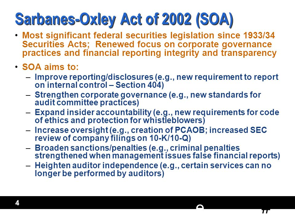 # e 5 Public Company Accounting Oversight Board Created by SOA New regulator for public accounting profession Three key functions of PCAOB: 1.Establish standards for Accounting Firms (auditing, quality control, ethics, and independence) 2.Conduct inspections of firms to assess compliance with professional standards 3.Take action to enforce PCAOB rules/standards Created by SOA New regulator for public accounting profession Three key functions of PCAOB: 1.Establish standards for Accounting Firms (auditing, quality control, ethics, and independence) 2.Conduct inspections of firms to assess compliance with professional standards 3.Take action to enforce PCAOB rules/standards