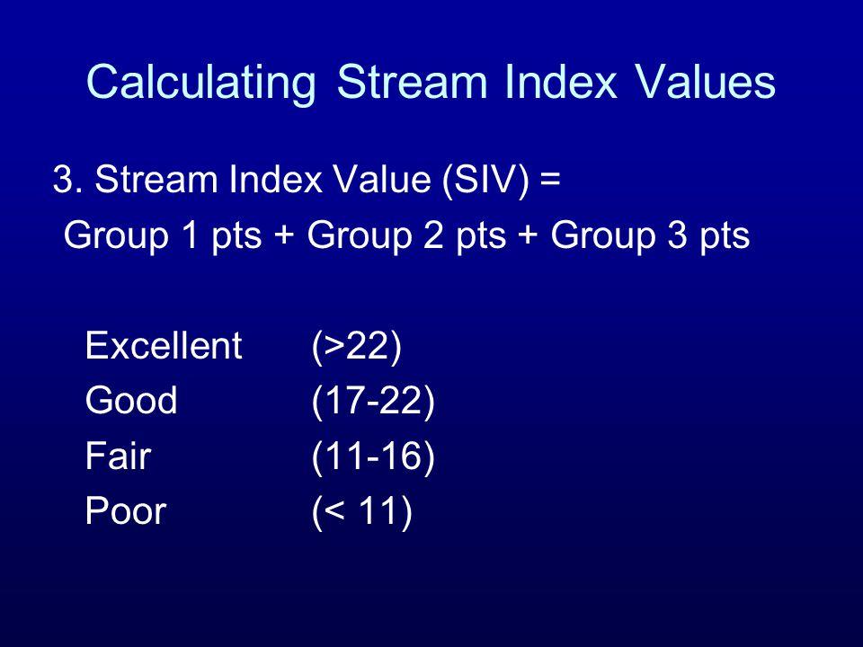 Calculating Stream Index Values 3.