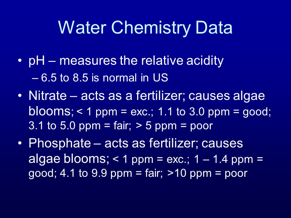 Water Chemistry Data pH – measures the relative acidity –6.5 to 8.5 is normal in US Nitrate – acts as a fertilizer; causes algae blooms ; 5 ppm = poor Phosphate – acts as fertilizer; causes algae blooms; 10 ppm = poor