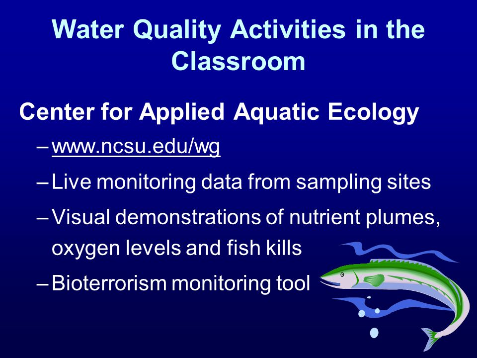 Water Quality Activities in the Classroom Center for Applied Aquatic Ecology –www.ncsu.edu/wg –Live monitoring data from sampling sites –Visual demons