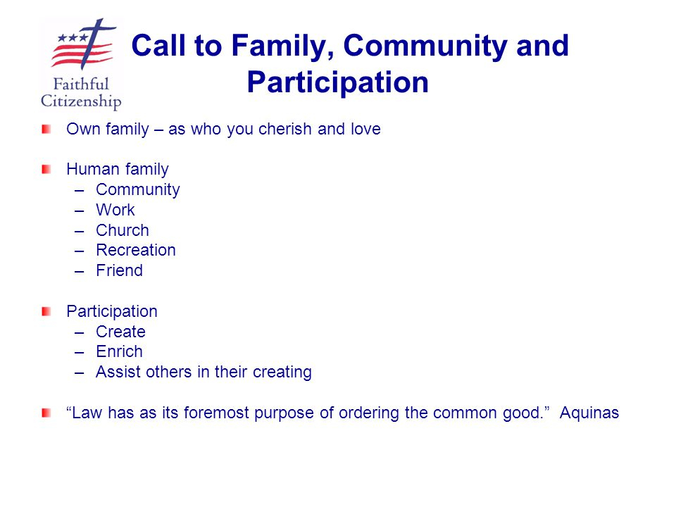 Call to Family, Community and Participation Own family – as who you cherish and love Human family – –Community – –Work – –Church – –Recreation – –Frie