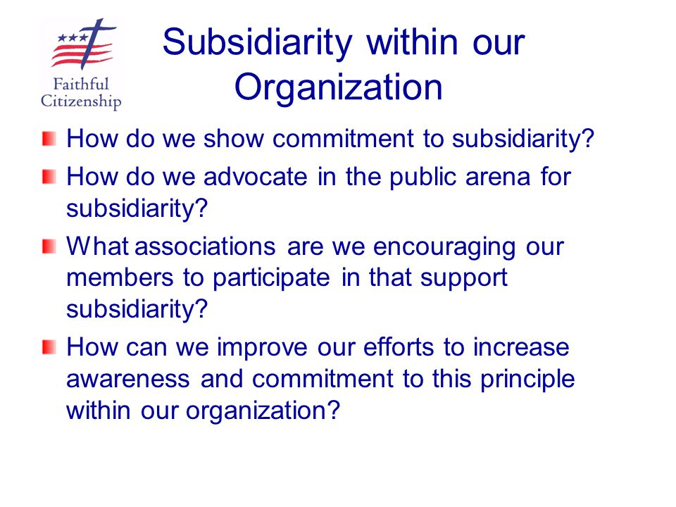 Subsidiarity within our Organization How do we show commitment to subsidiarity? How do we advocate in the public arena for subsidiarity? What associat