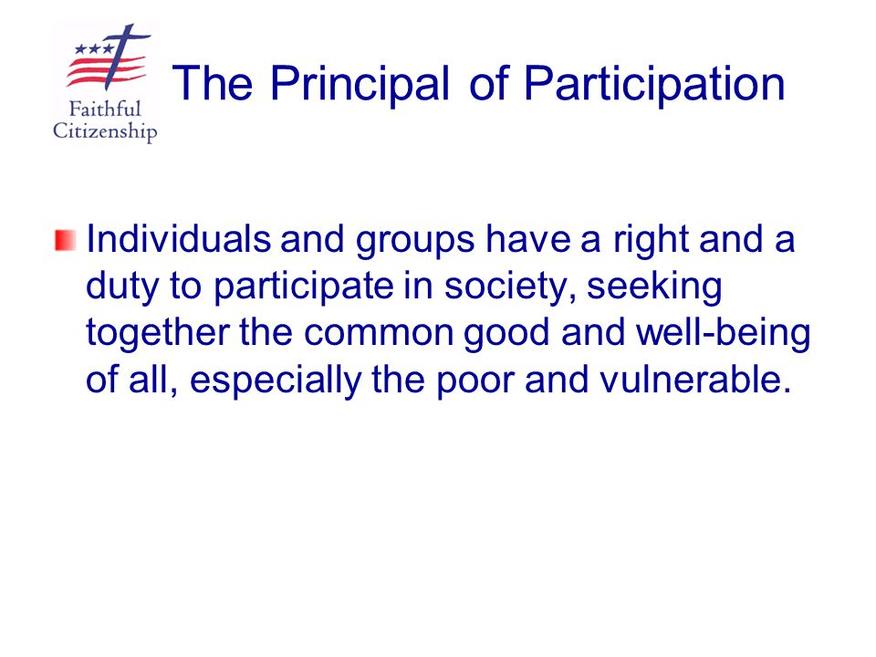 The Principal of Participation Individuals and groups have a right and a duty to participate in society, seeking together the common good and well-bei