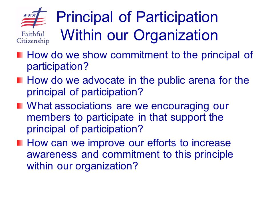 Principal of Participation Within our Organization How do we show commitment to the principal of participation? How do we advocate in the public arena