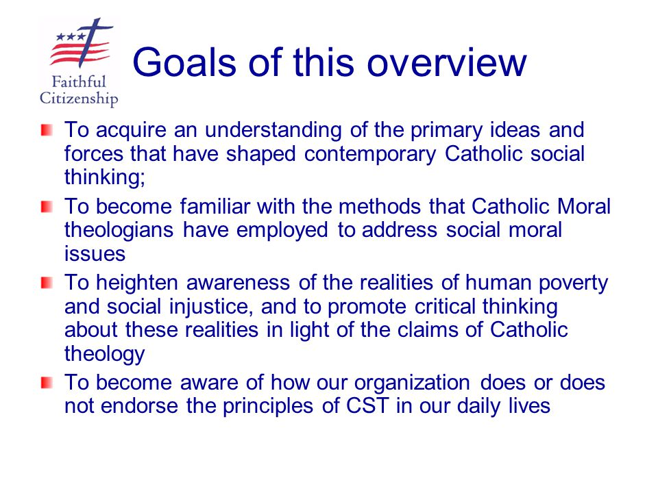 Key Principles of Catholic Social Teaching Human Dignity Common Good Solidarity Subsidiarity Social Order Purpose of Government Participation Purpose of Goods Option for the Poor Care for God's Creation